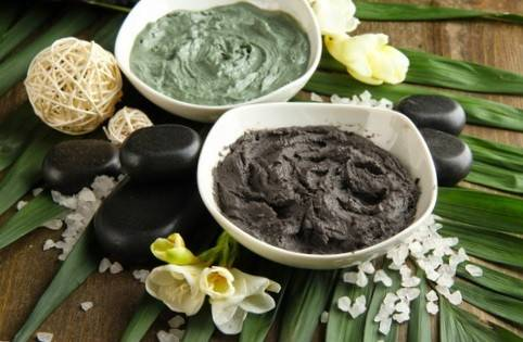 Composition with cosmetic clay for spa treatments, on palm leaf background