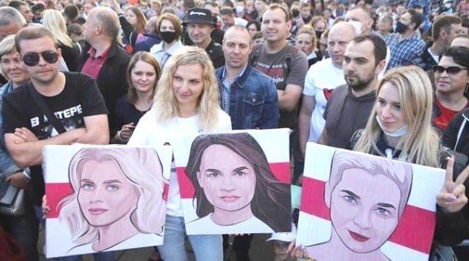 митинг в Минске за Тихановскую